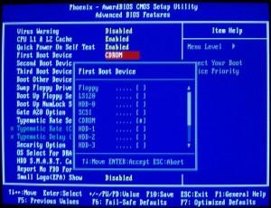 загрузка с CD-DVD диска в синем bios